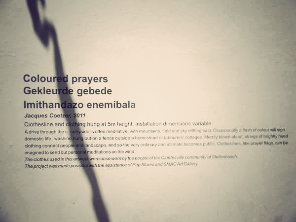 Coloured prayers, Stellenbosch. Art by Jacques Coetzer. Photo Nadia Krige