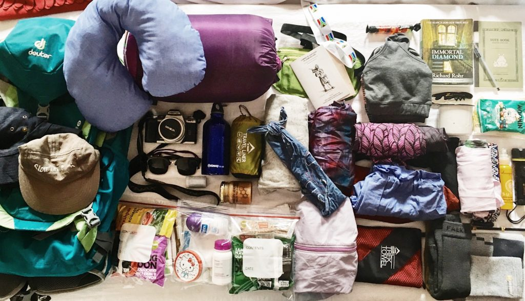 travel, flat lay, gypsified, packing