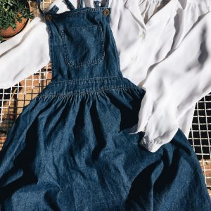 denim dungaree dress, romantic white blouse, second-hand, peregrinapreloved, vintage clothes cape town, vintage clothes south africa